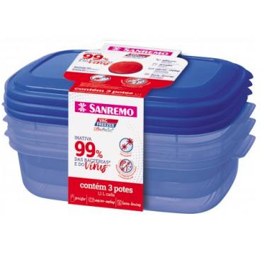 Conjunto 3 Potes Ultraprotect 1,1L Sanremo - ref SR380/19C