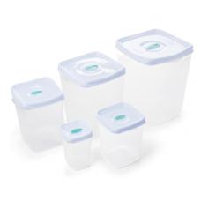 Conjunto 5 Potes Quadrados Plasvale  - ref 400