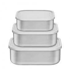 Jogo De Potes Tramontina Freezenox Em Aço Inox com Tampa de Plástico 3 Peças - ref 64220920