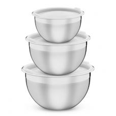 Jogo de Potes Tramontina Cucina em Aço Inox com Tampa Plástica 3 Peças